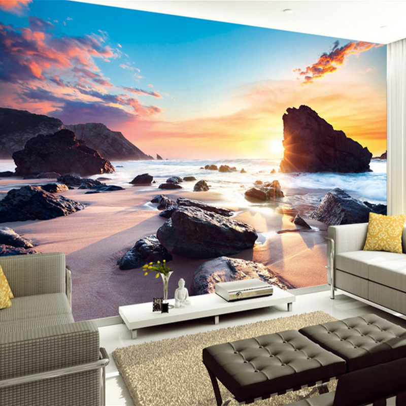 Custom Mural Wallpaper Sunset Sea View Sunny Beach Stone 3D Photo Background Wall Papers Home Decor Living Room Wall Painting фен elchim 8th sense sunset copper 03082 33