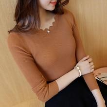 Весна осень и зима новые женские вязаные свитера нижние платья свитера с длинным рукавом нижние платья и топы
