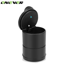Onever Portable Cigar Ashtray LED Cylinder Car Truck Auto Office Smokeless Cigarette Ashtrays With Lids carro cinzeiro For Car(China)