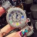 Роскошные Часы Женские Часы Леди Сияющий Вращения Платье Часы Клевер Алмазный Камень Наручные Часы Леди Подлинная Часы reloj mujer
