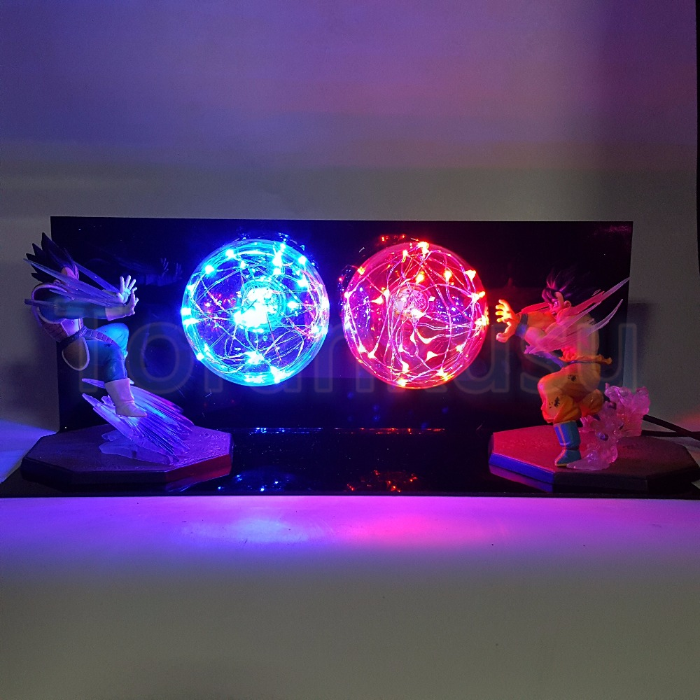 Dragon Ball Z Action Figure Son Goku vs Vegeta Flighting Flash Ball DIY Display Set Dragonball Super Saiyan Goku DBZ Lamp DIY169