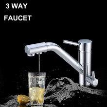 Sıcaklık ayarlı mutfak musluğu yüksek kaliteli su filtresi 3 yollu musluk