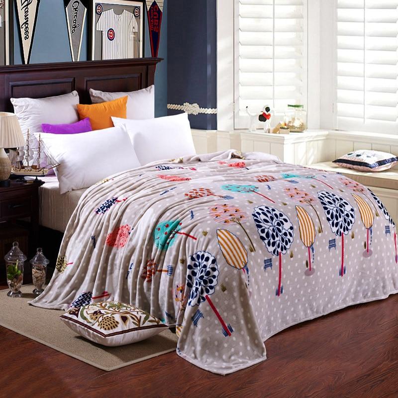 Thin Soft Blanket Tree Print Flannel Fleece Blankets