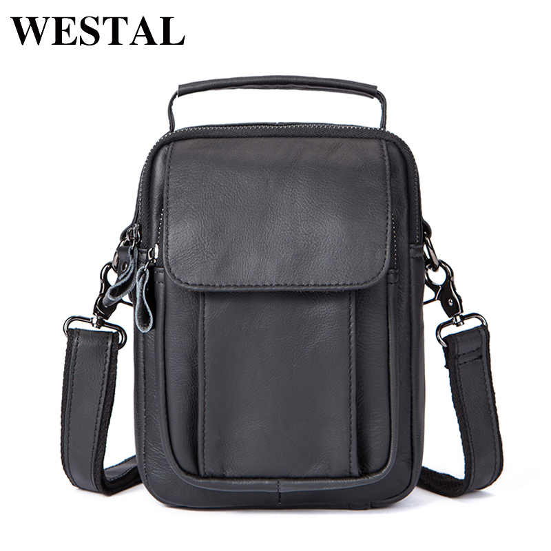 WESTAL Fashion Crossbody Bags Men Genuine Leather Shoulder Bag Zipper Messenger Bags Men Small Messenger Bag Mens Flap 7910 westal crossbody bags shoulder bag men genuine leather messenger bag zipper cell phone pocket black business small bags 1023