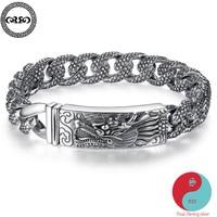 Модный этнический настоящий браслет из чистого серебра 925 пробы мужской ретро браслет с тяжелыми драконами китайский браслет ювелирное изд