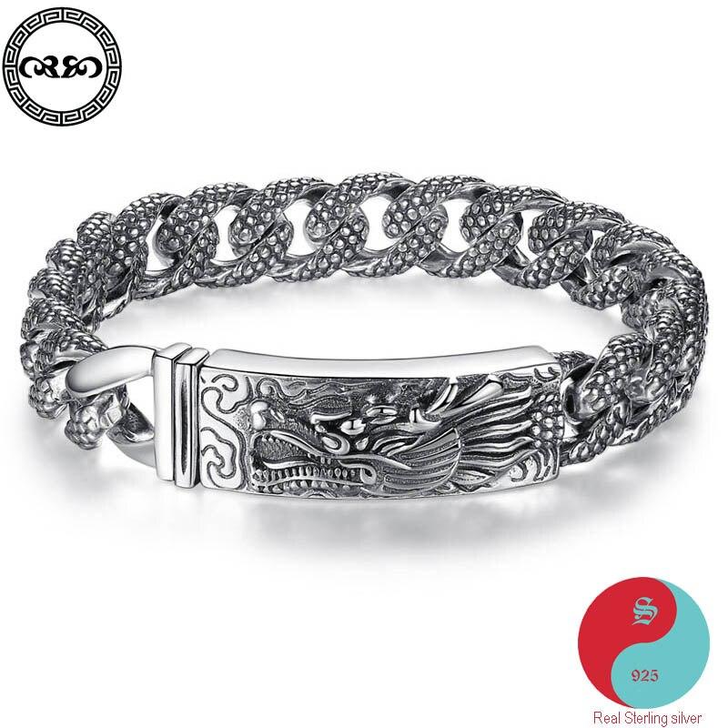 d00f4e468ac3 De moda étnica Real pura 925 pulsera de plata esterlina hombres Retro  pesado dragones pulsera chino ...