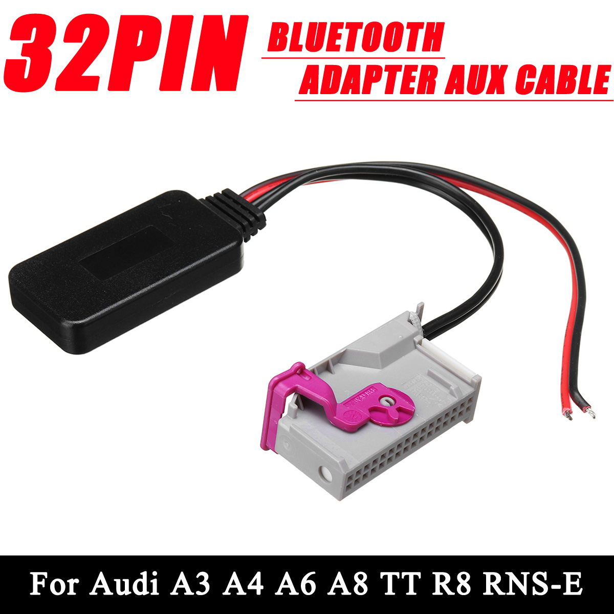 32Pin Wireless Bluetooth Adapter Aux Cable Auto Bluetooth Car Kit Music Audio Receiver Adapter For Audi A3 A4 A6 A8 TT R8 RNS-E