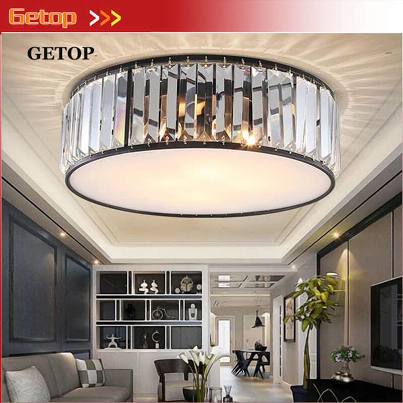 American Round Iron Art Crystal LED Ceiling Lights Living Room Ceiling Lamp Rustic Style Restaurant Bedroom Lighting Fixtures лампа автомобильная ксеноновая clearlight d2r 4300k