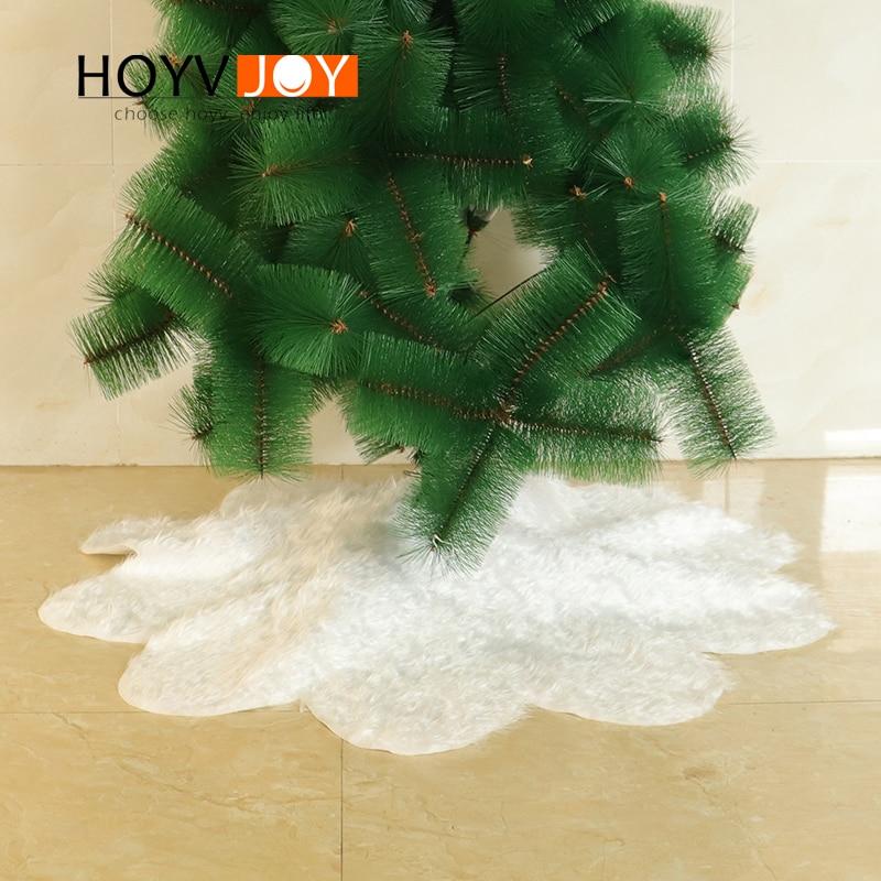 White fur nylon material Christmas tree bottom skirt decorations family holiday party decoration HOYVJOY