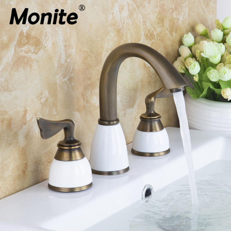 Antique brass white ceramic bathtub faucet bathroom faucet 3 pieces set double handles deck for White porcelain bathroom faucets