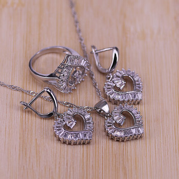Silver Jewelry Set For Women Heart CZ Stone Charm Pendants Necklaces