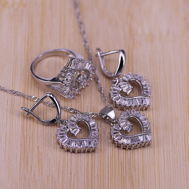 Trendy Silver Color Jewelry Set For Women Heart CZ Stone Charm Pendants Necklaces Earrings Rings LOVE Anniversary Gift