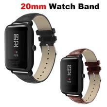 Купить с кэшбэком Leather Bracelet Band 20mm Smart Watch Correa Strap for Xiaomi Huami Amazfit Bip Lite for Samsung Gear S2 S4 for Huawei Watch 2
