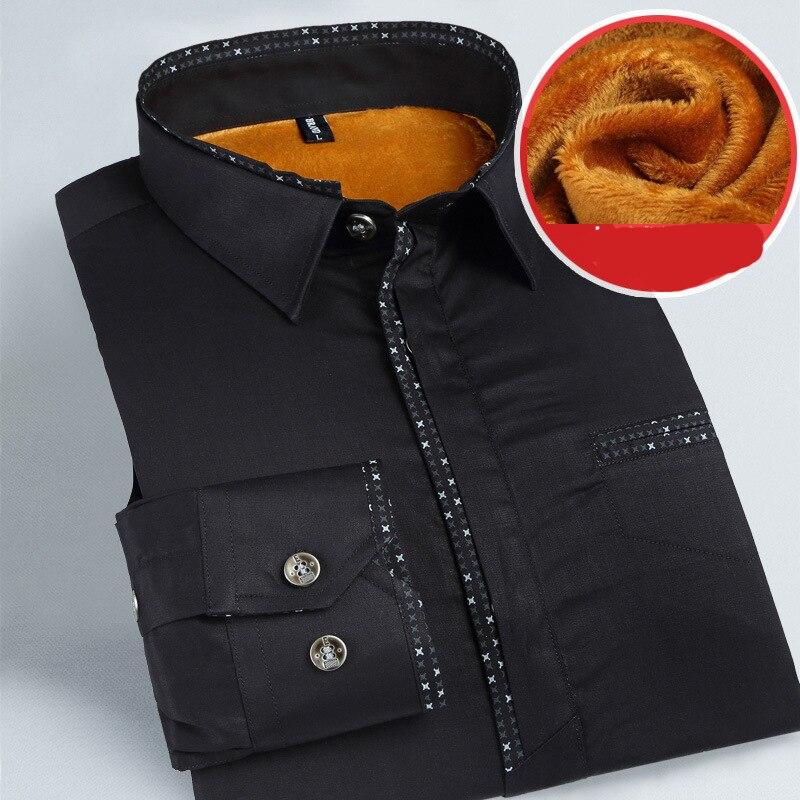 Fashion Male Cheap Quality winter shirt men Long Sleeve Thermal Warm Velvet padded Mens Clothing