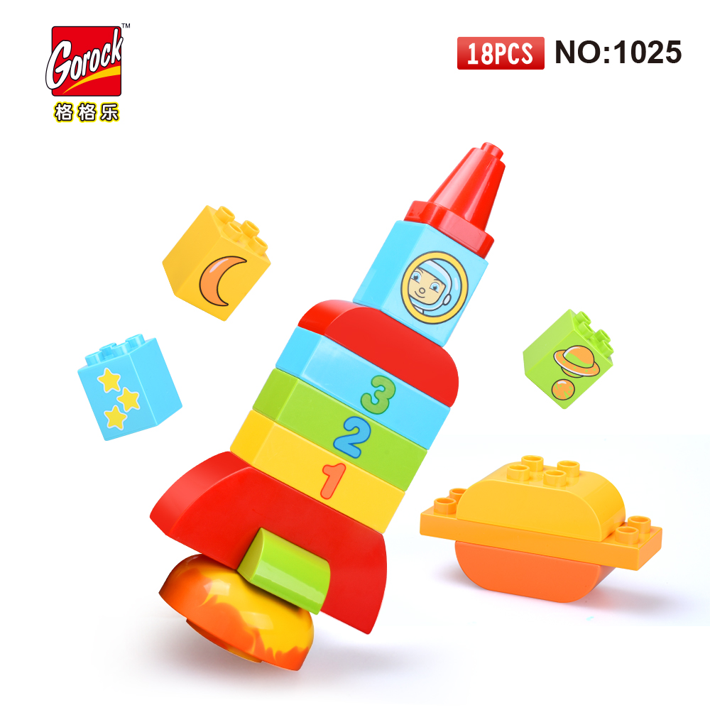 GOROCK 1025 Big Building Block Set children Educational Bricks Toys 18Pcs For Birthday Gifts Toy For Baby Compatible With Duploe стоимость
