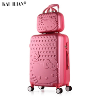 Suitcase Cosmetic bag set on wheels hello kitty Travel luggage Trolley bages girl students Woman rolling suitcase Lovely 20/22''