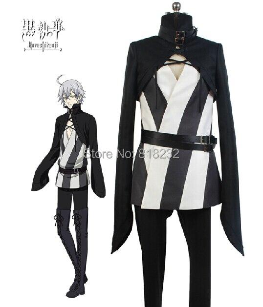Black Butler Kuroshitsuji Snake Uniform Cosplay Costumes Cloak+Outwear+Shirt+Pants