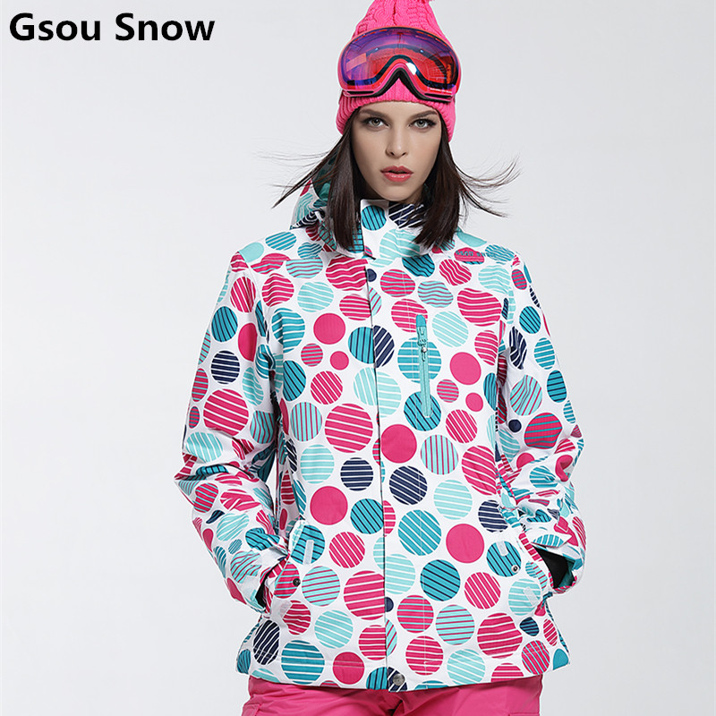Gsou Snow winter Ski Jacket women clearance SALE womens skiwear ladies snowboard jackets skiing clothes colorful dots
