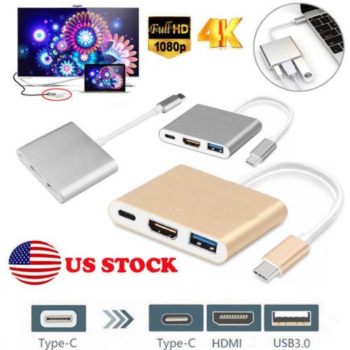 Digital AV Multiport Adapter Type C USB 3.1 To USB-C 4K HDMI USB 3.0 Adapter 3 In 1 Hub For Apple Macbook Samsung Android