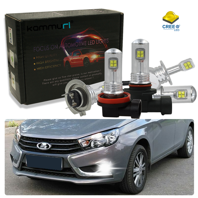 H8 H11 H3 H1 H16 H27 HB3 HB4 5202 LED Car Fog Driving Light for Lada Granta Vesta Xray Largus VU 4X4 Niva Kalina Priora ,White