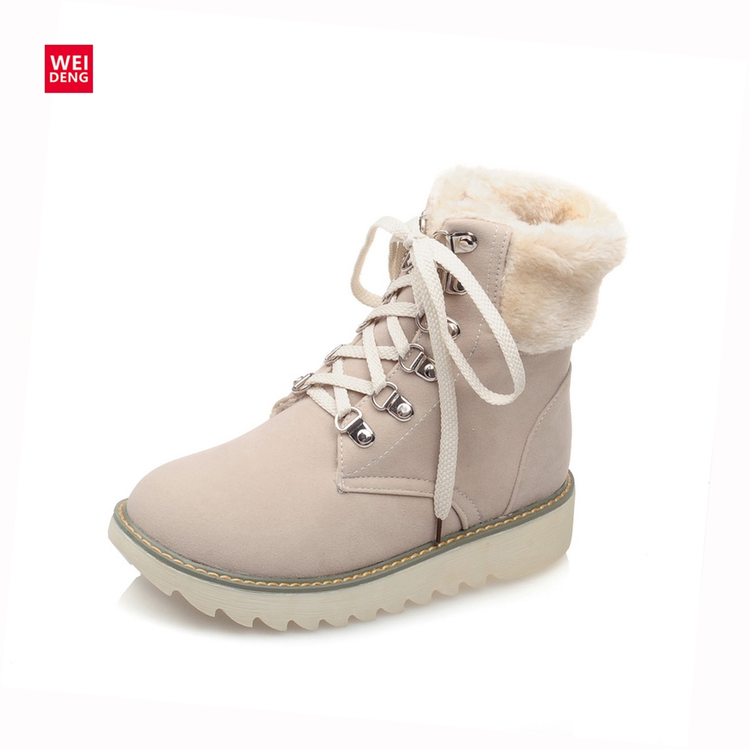 WeiDeng Women Winter Suede Leather Snow Martin Boots Fur Warm Thick Bottom Platforms Fashion Lace Up Shoes Plus Size