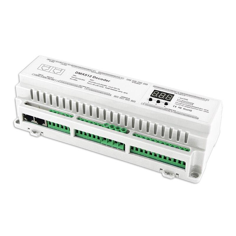 Nouvelle Led DMX512 Décodeur Tension Constante DC12V-24 v 5A * 24CH sortie LED affichage de Réglage DIY Adresse RJ45 24 canaux DMX décodeur