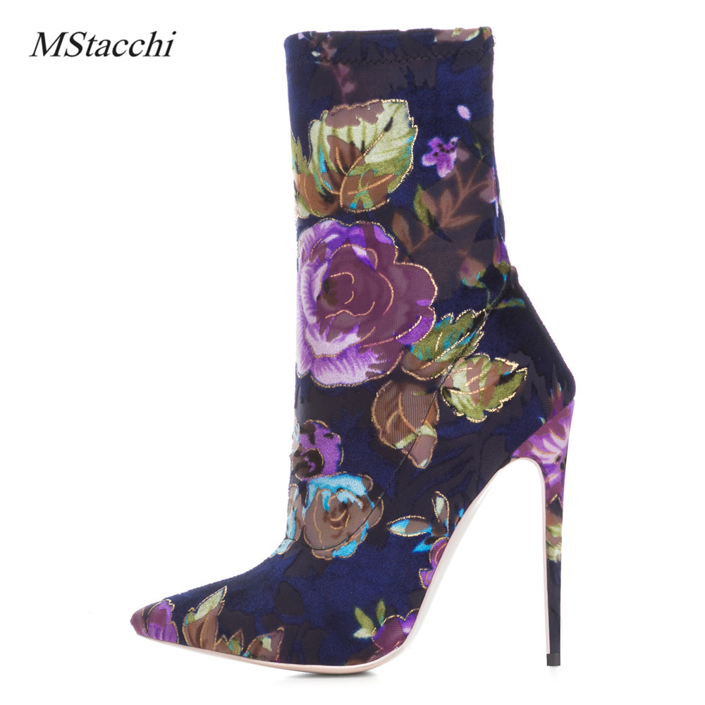 Mstacchi <font><b>2018</b></font> Brand Women's <font><b>Shoes</b></font> Embroidery Flower Big Size 33-43 Stretch Boots Pointed Toe Women <font><b>Sexy</b></font> Printed Fine Heel Boots image