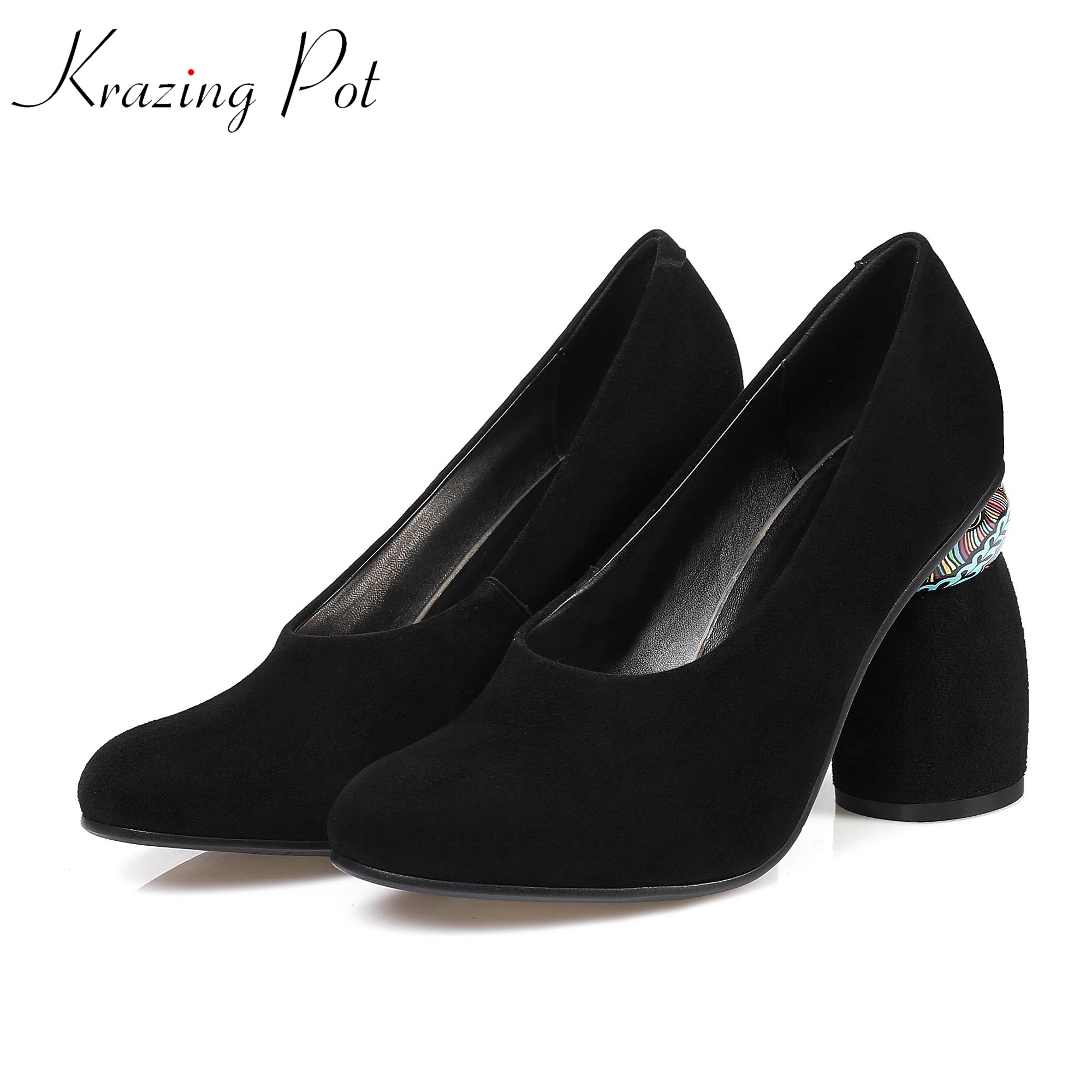Krazing pot kid suede round toe female office lady nightclub sexy superstar strange design extreme high