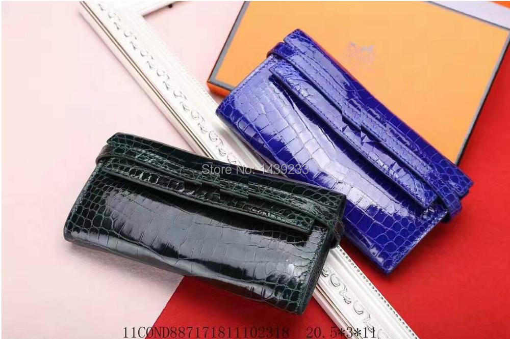 100% genuine crocodile leather skin women wallets and purse clutch,brigher shinny alligator skin wallets women clutch long size