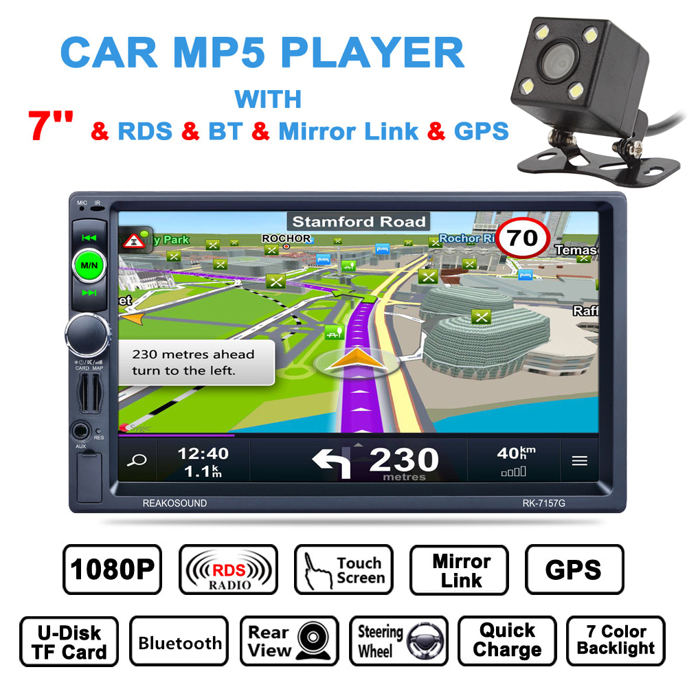 7 Inch 2 Din Bluetooth Car Multimedia Auto Stereo MP5 Player GPS Navigation AM FM RDS Radio Support Mirror Link Aux In + Camera цена