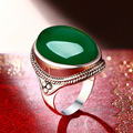 green chalcedony ring green natural semi-precious stones high-end girlfriend gift