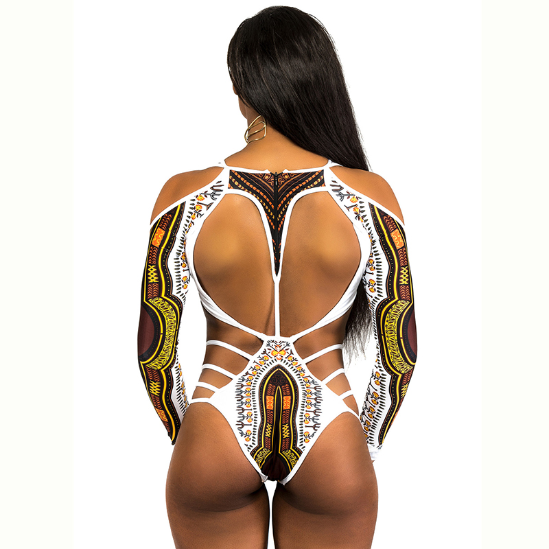 ee55c6bfe4 African Dashiki Print Monokini Bandage Swimsuit Long Sleeve Swimwear Women  Thong Trikini 2018 Plus Size Brazilian Bathing Suit