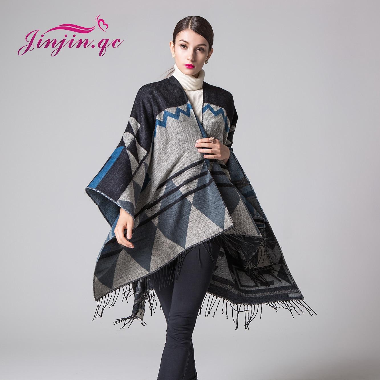 Jinjin.QC women scarves and wraps winter scarf poncho with tassel fashion pashmina echarpe foulard femme P16036