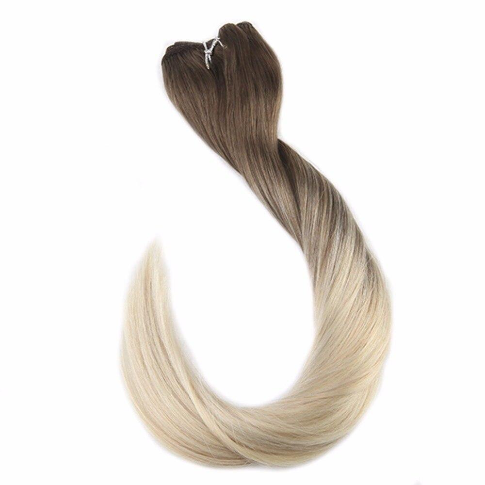 Trame de cheveux pleine brillance Invisible Remy Extensions de cheveux humains couleur de Balayage 100g Double trame coudre dans les Extensions de cheveux faisceaux de cheveux
