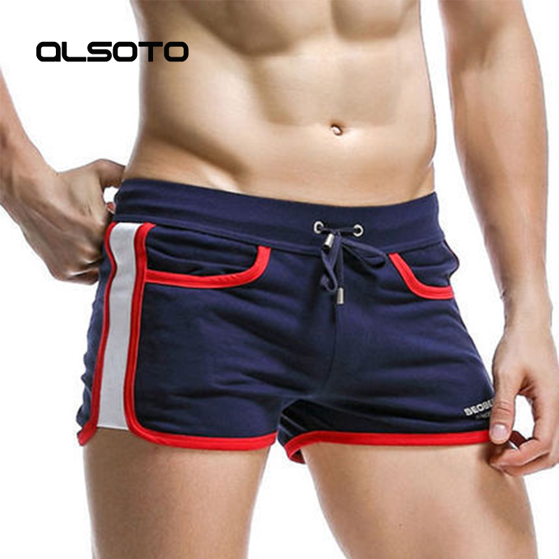 Summer Men Beach Shorts Solid Color Sexy Low Waist Cotton Arrow Pants Quick Dry Surf Board Sports Jogger Boxer Shorts