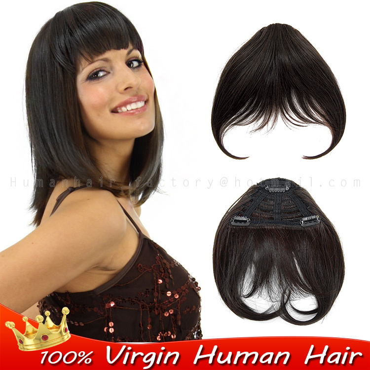 100 Human Real Hair Bang Fringe Neat Clip In Extensions Bangs Woman Hairstyles Clips Black Natural On Aliexpress