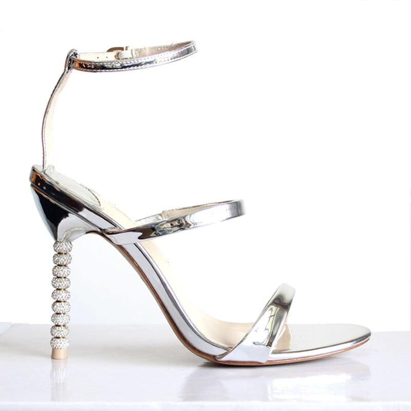 2019 nowy damskie buty na wysokim obcasie luksusowe złoty srebrny sandały Rhinestone buty kobieta lato sandały eleganckie buty ślubne wesele w Wysokie obcasy od Buty na  Grupa 2