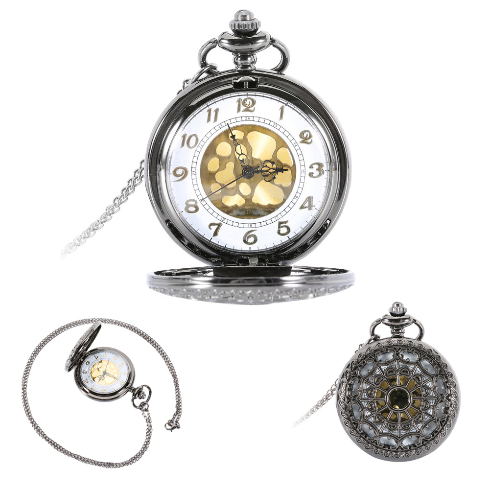 Mens pocket watches with chain images mens gold pocket watches gifts - Vintage Women Men Gold Dial Hollow Quartz Pocket Watch Pendant Necklace Antique Gifts Lxh China
