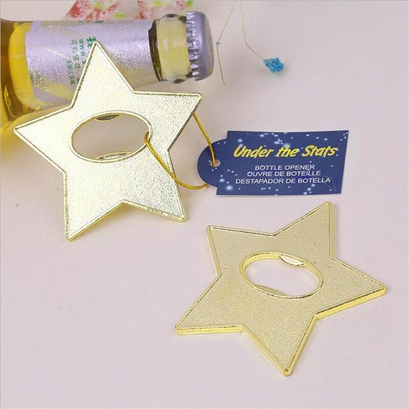 """""""Estrella dorada"""" abridor de botellas de Metal para cerveza 50 unids/lote regalo de boda y regalos para hombres-in Obsequios para fiestas from Hogar y Mascotas    2"""