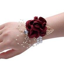 Kwiat róży z jedwabiu Groom Boutonniere bukiecik na nadgarstek panny młodej człowiek broszka do garnituru kobiety ręcznie ślubne kwiaty strona dekoracji XF08