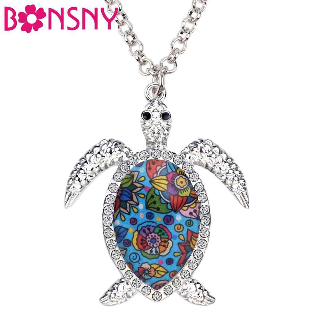 Bonsny エナメル合金ラインストーンウミガメカメネックレスペンダント襟ファッション海洋動物女性女の子子供ギフト