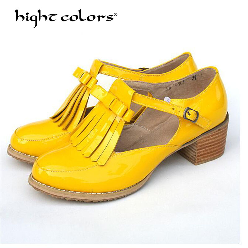 Yellow Blue Ladies shoes Oxford shoes Patent leather Block Mid Heels Pumps Women Buckle Strap Big