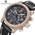 De lujo de la marca pagani design reloj de los hombres de cuero genuino reloj de cuarzo ocasional impermeable deporte al aire libre reloj de pulsera relogio masculino