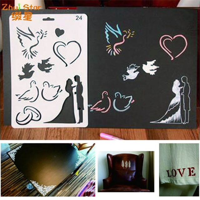 Drawing board Wedding Couple Plastic ReusableTemplate Stencil Spray