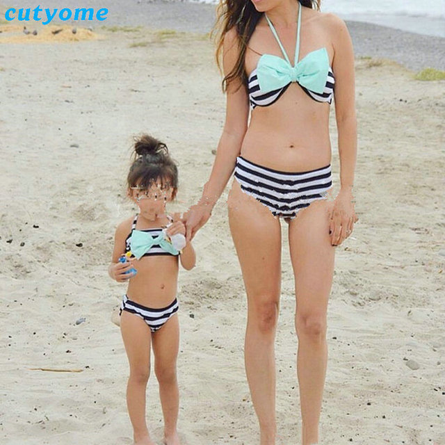 798d4a82bc41a Mother Daughter Swimsuit Clothes Family Look Matching Striped Swimwear  Outfits Mommy And Me Kids Beach Bathing Suit Beachwear