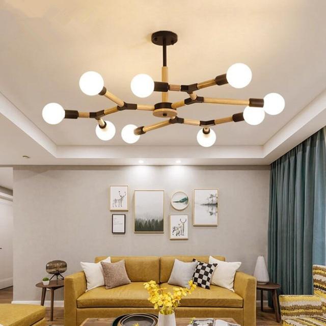 Wohnzimmer LED Anhänger Leuchten Nordic Moderne Zweig Baum Holz Hängen  Lampe für Schlafzimmer Esszimmer Hause Deco Hanglampen