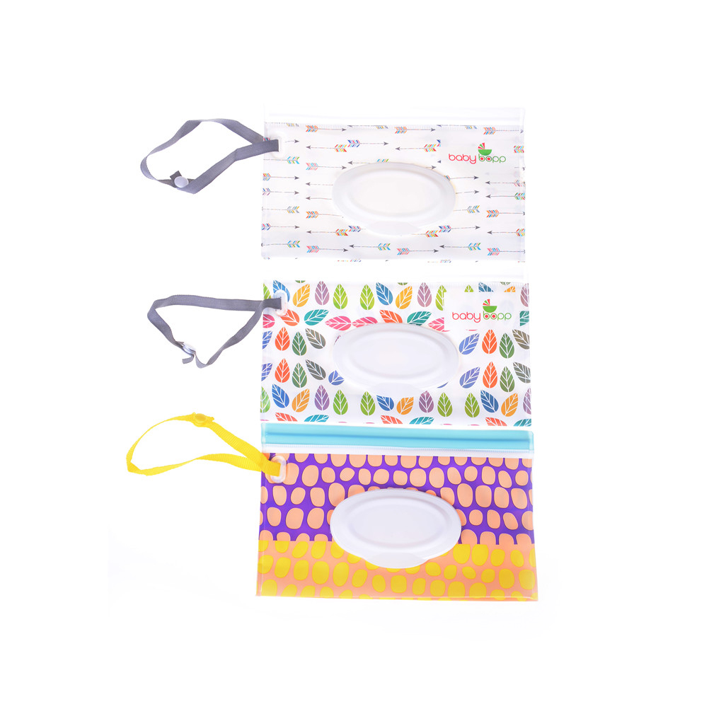 Eco-friendly Wet Wipes Bag Easy-carry Snap-strap Wipes Container Wipes Carrying Case Clamshell Cosmetic Pouch Clutch And Clean