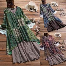 Women Ladies Boho Retro Floral Print Baggy Cotton Linen Long Sleeve Maxi Dress Casual Loose Kaftan