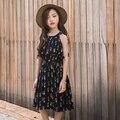 Marca de roupas da menina das crianças roupas de verão novos 2017 das crianças flor vestido pure sweet moda cactus padrão praia vestido