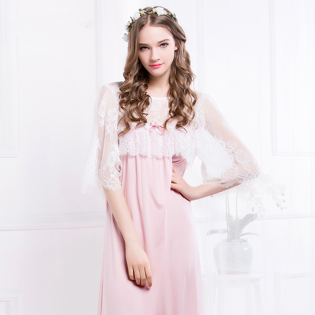 Ladies Sleepwear Elegant Women Pink Lace Nightdress Home dress Round Neck Nightgown Long Nightgown M,L,XL Recycled fiber